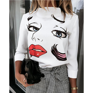 Autumn Women Blouse Shirts Cute Eyes Lips Print Casual Stand Neck Elegant Pullover Tops Lady Fashion Long Sleeve Blusa Sexy Top
