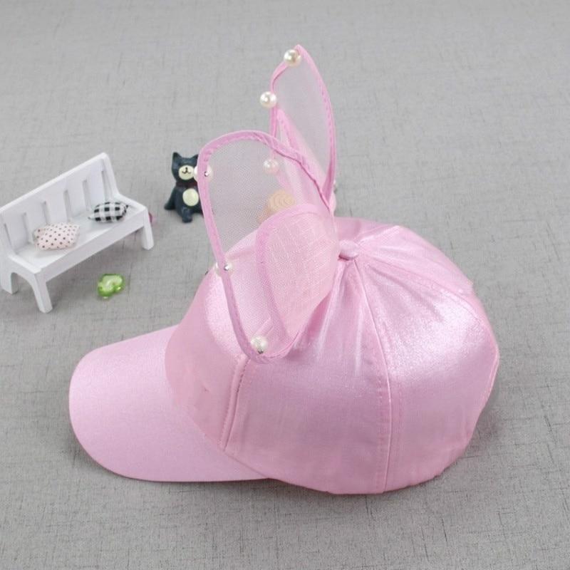 Модная летняя детская бейсбольная кепка с большим бантом и цветочными ушками черного, белого и розового цветов с жемчужинами, Детские Солнцезащитные шляпы, сетчатая Кепка принцессы