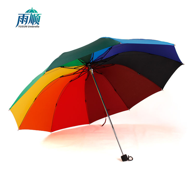 Rain Rainbow Umbrella Logo Customizable Manual Ten Bone Three-fold Umbrella Gift Folding Umbrella Advertising Ultra Large All-We