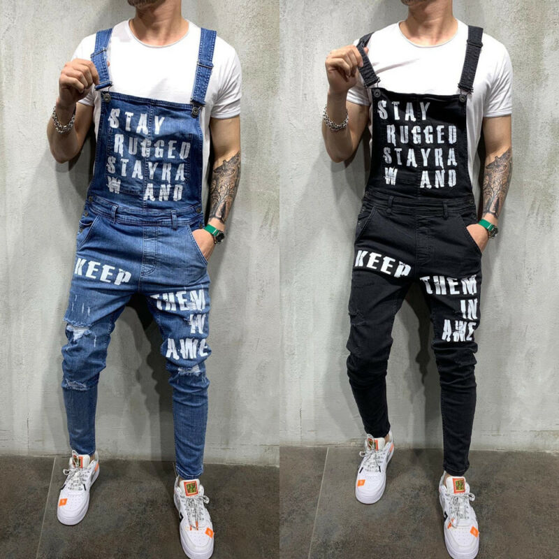 Men Fashion Bib Pants New Denim Jeans Modern Style Suspenders Overalls Skinny Ripped Destroyed Trouser Male Boy Elegent Clothing