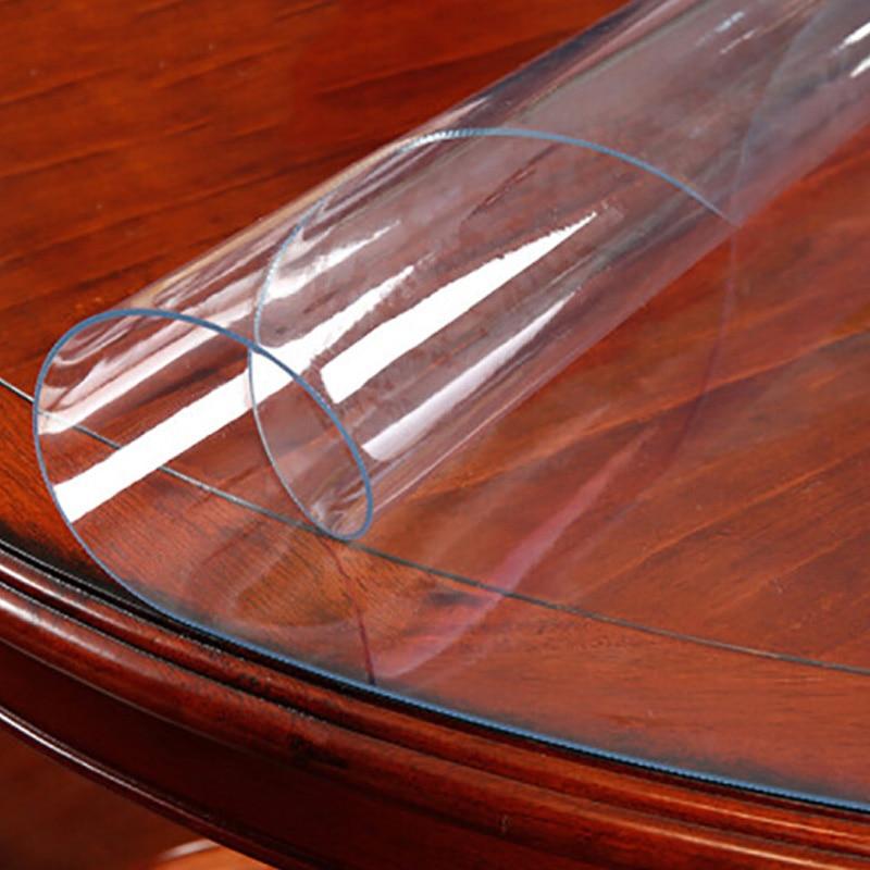 Круглая прозрачная скатерть из ПВХ, 150 см, водонепроницаемая скатерть, покрытие для кухонного стола, стеклянная мягкая ткань, коврик для обе...