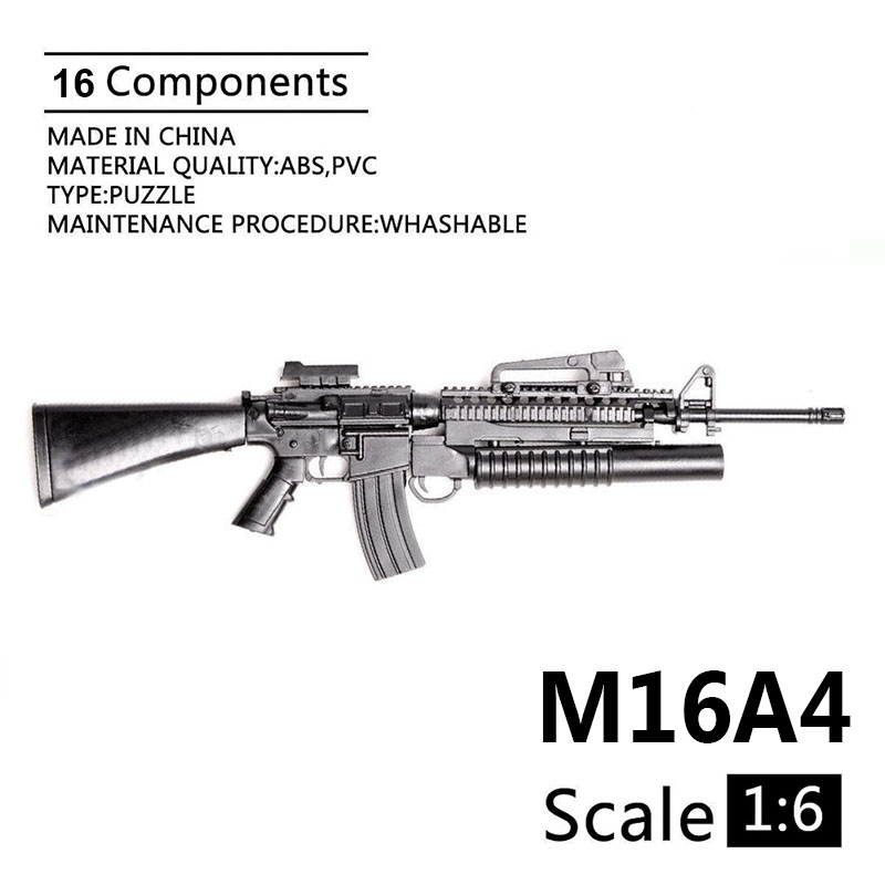 1:6 M16A4 Automatic Rifle Assembling Gun Model Assembly Plastic Weapon For 1/6 Soldier Military Building Blocks Toy