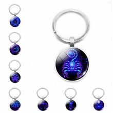 2019 New 12 Constellation Key Chain Glass Cabochon Style Zodiac Keychain Classic Purple Charm Series Pattern