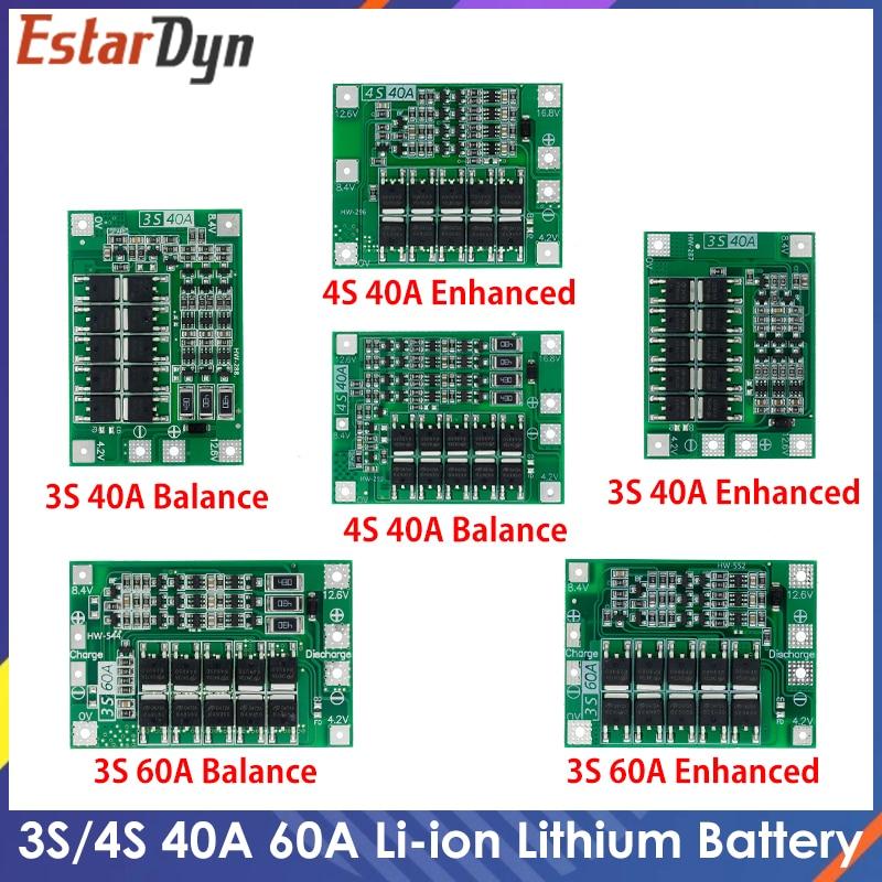 3s 4S 40a 60a li-ion bateria de lítio carregador placa de proteção 18650 bms broca motor 11.1v 12.6v/14.8v 16.8v melhorar/equilíbrio
