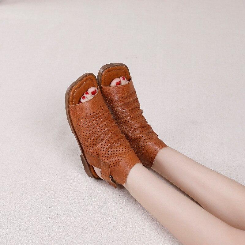 Original 2020 Summer New Gladiator Sandals For Woman Handmade Retro Hollow Peep Toe High Top Flat Layer Cowhide Female Cool Shoe (2)