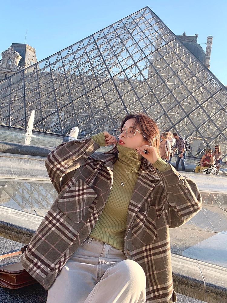 MISHOW 2019 Autumn Winter Gray Thick Woolen Coat Women Causal Lapel Striped Plaid Long Sleeve Coat Jackets  MX19C9538 24