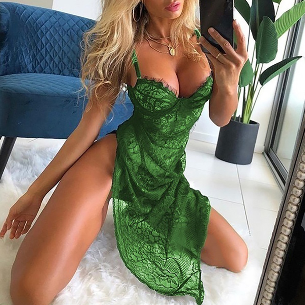Ladies deep V sling sexy nightdress temptation pajamas Thong Women Summer Suit Lace Open Back Backless Transparent lingerie D30 Babydolls & Chemises  - AliExpress