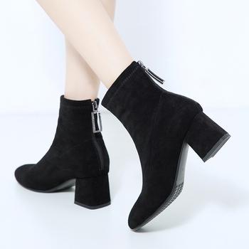 Women Boots 2020 Comfy Square High Heel Ankle Boots Fashion Pointed Toe Zipper Boots Autumn Winter Ladies Shoes Black tanie i dobre opinie ZETMTC Dzieciak Zamszu Metalu dekoracji Stałe miya@m12 Dla dorosłych Plac heel Podstawowe Krótki pluszowe Szpiczasty nosek