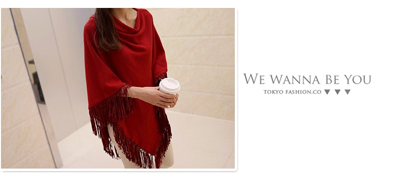 Women Spring Autumn Knitted Sweater Poncho Coat 19