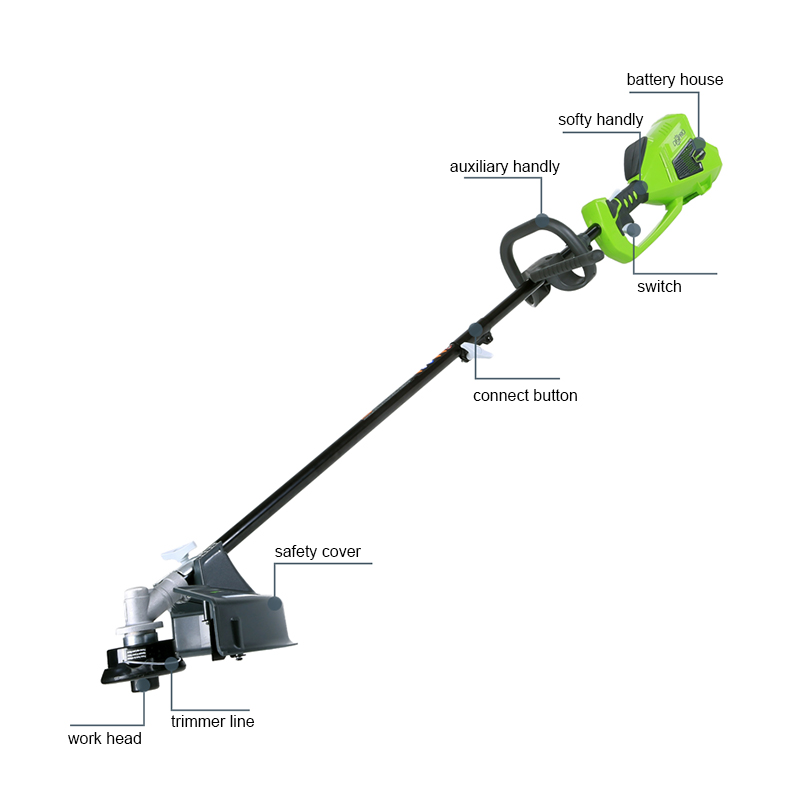 GreenWorks Cordless G String Battery 40V Brushless Trimmer Inch Powerful 14 800W 4Ah And Charger Included MAX Motor