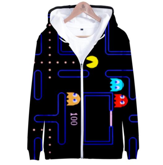 2019 Hot Sale PACMAN Zipper Hoodies 3D Zipper Hoodie Men Harajuku No Theme Irregular Hoodies Men Plus Size For Men Streetwear