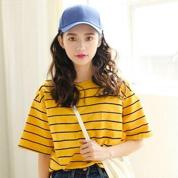 Korean O neck T Shirt Women kawaii pink Striped Tops Harajuku Tshirt Summer Short Sleeve casual