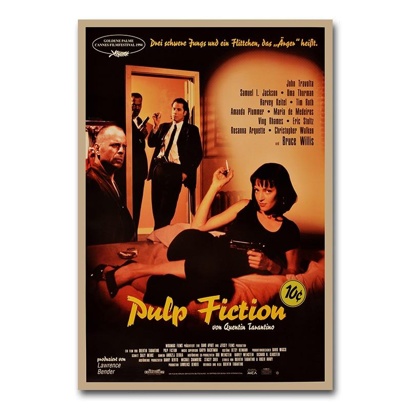Pulp Fiction Poster Movie Vintage Art Silk Poster 12x18 24x36inch Uma Thurman