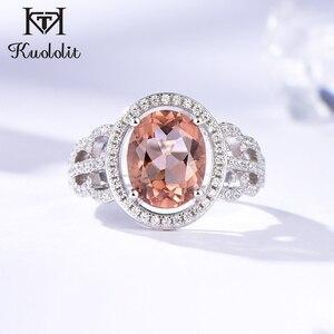 Image 1 - Kuololit Zultanite Edelstein Ringe für Frauen Solide 925 Sterling Silber Farbe Ändern Diaspore Handgemachte Braut Geschenke Edlen Schmuck