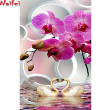diamond painting mosaic Swan orchid flower Rhinestone painting full square diy 3d pictures 5d diamond embroidery sale art(China)