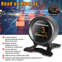Car HUD Speed Alarm Pressure Oil Water Temperature Gauge Code Reader for Driving PUO88 Scanners     -