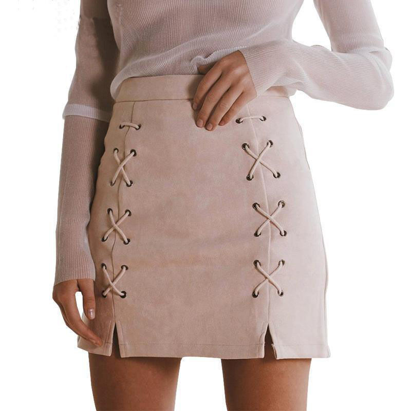 Hot Sale Fashion High Waist Lace Up Faux Leather Pencil Women Skirts Pocket Preppy Short Winter Warm Mini Ladies Skirt