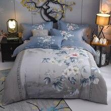 Funda de edredón Vintage de flores en flor gris 100% de algodón suave juego de cama edredón funda de cama fundas de almohada tamaño Queen King