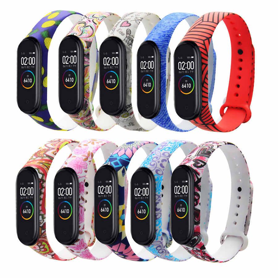 Mi Band 4 3 Strap Silicone Pictures Printing Pulsera Miband 3 4 Strap Correa Fashional Sport Wrist Strap For Xiaomi Mi 4 3 Smart Accessories Aliexpress