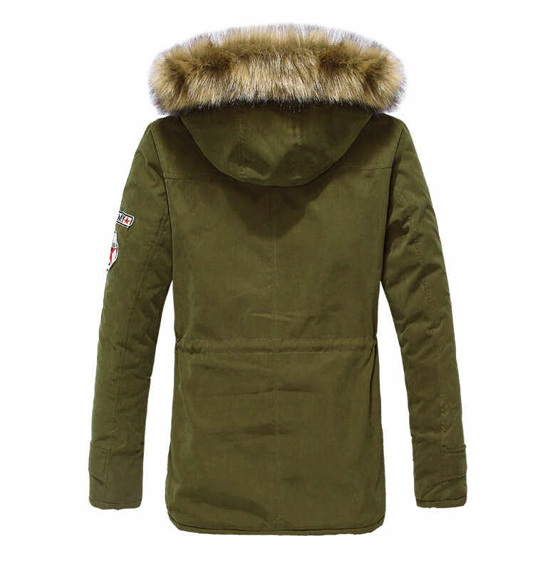 ジッパーメンズジャケットコート冬カジュアルフリースコート軍カーキボンバージャケット付きパーカーファッションスリムフィットロング男性パーカー
