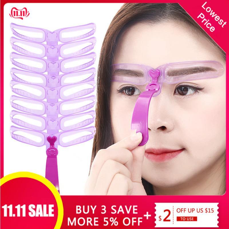 Reusable 8 in1 Eyebrow Shaping Template Helper Stencils Kit Grooming Card Defining Makeup Tools