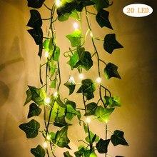 2/10m planta folha guirlanda luz de fadas decoração led fio de cobre luz da corda para o casamento floresta mesa natal decoração festa em casa