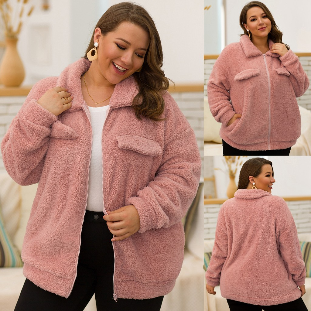 chaquetas mujer 2020 coat women's Plus Size Casual Lapel Solid Color Long Sleeve Zipper Pocket Plush Jacke veste femme manteau