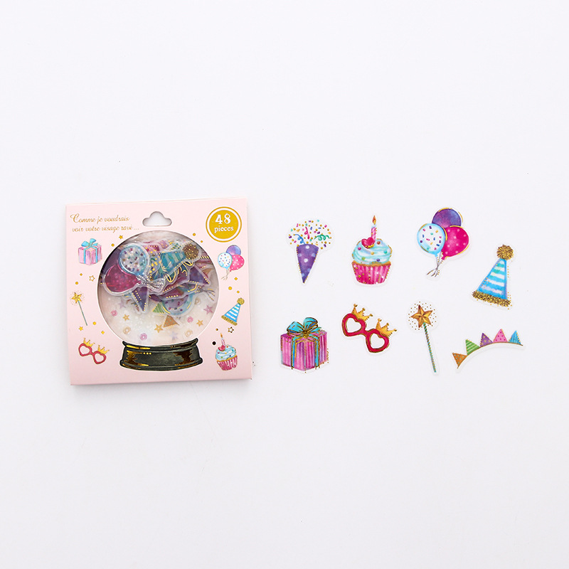 DIY Scrapbooking Stickers Crystal Ball Cat Candy Sticker Kawaii Stationery 48Pcs