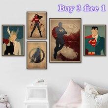 Superhéroe de CC Superman Batman Poster de alta calidad Vintage Poster pintura de la pared para la decoración de la barra de café de la habitación de los niños