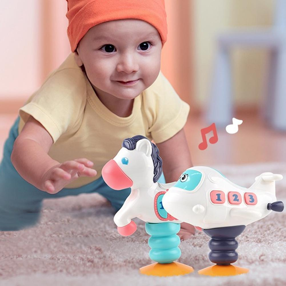 Cute Electric Pet Plane LED Music Wobbling Doll With Suction Cup Interactive Kid Toy LED Light Glow Toy Baby Educational Toys