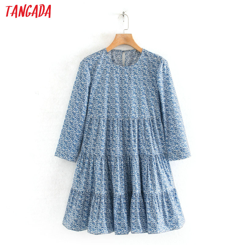 Tangada Fashion Women Flowers Print Blue Mini Dress Three Quarter Sleeve Ladies Vintage Short Dress Vestidos 2W125
