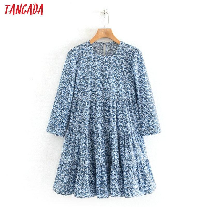 Tangada Fashion Women Flowers Print Blue Mini Dress Three Quarter Sleeve Ladies Vintage Short Dress Vestidos 2W125