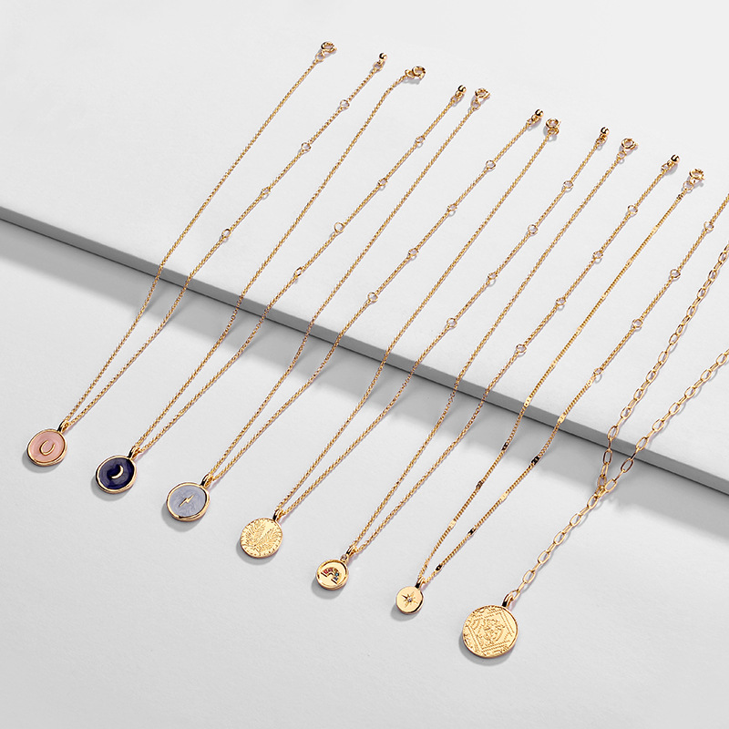 Fashion Round Enamel Moon Star Round Pendant Necklaces for Women Trendy Long Chain Gold Coin Choker Necklace Statement Jewelry