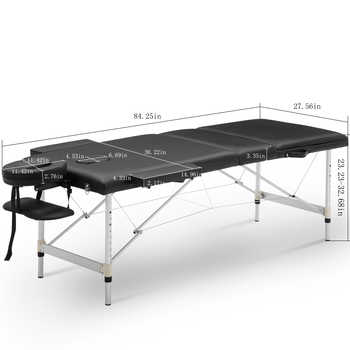 "84"" Folding Massage Table Lightweight Couch Bed Professional Beauty Tattoo Salon Spa Reiki 3 Section with Headrest Carry Case"
