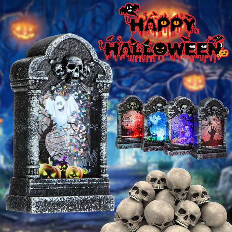 Halloween Luminous Mini Tombstone Ornaments With Ghost Pattern DIY Tombstone Night Light Pumpkin Skull Lamp Party Decoration