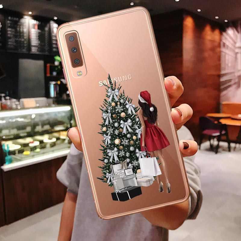 Caso de férias Para Samsung Galaxy A10 A30 A50 A70 A80 2019 A7 2018 A750 A6 A8 Plus A9 2018 Novo ano Natal Papai Noel Capa