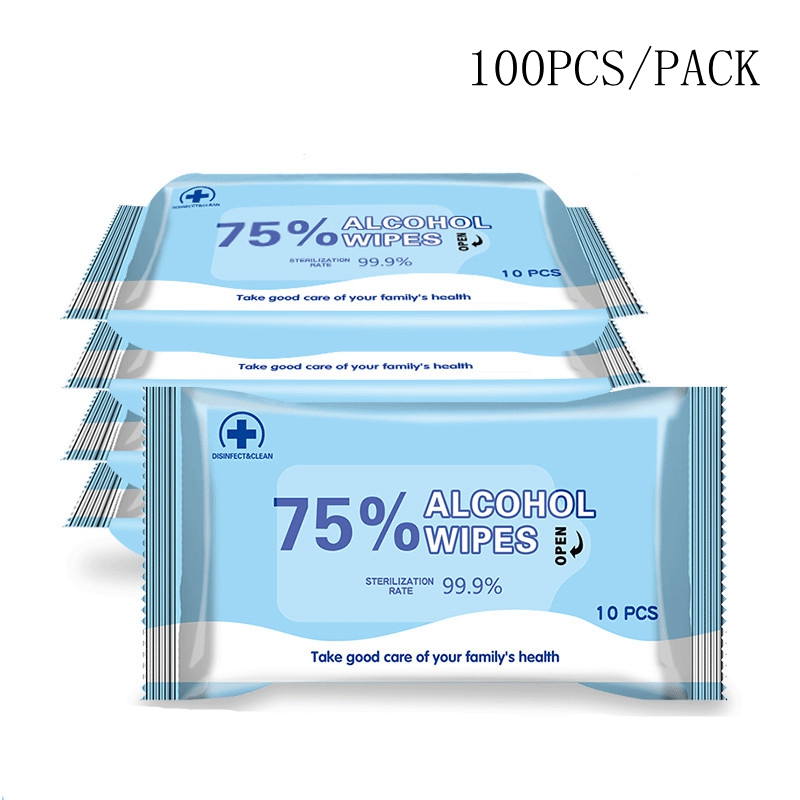 100PCS/Pack Disposable Alcohol Wipes Sterilization Portable Wipes Antibacterial Cleaning Skin Cleaning Care Alcohol Wet Wipes