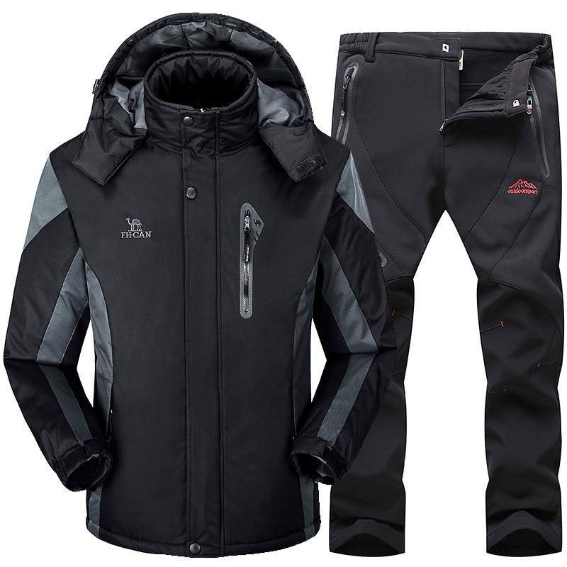 Ski Suit Men Snowboard Fleece Jacket+Pants Thicken Warm Waterproof Windproof Skiing And Snowboarding Sets Winter Snow Suits Male