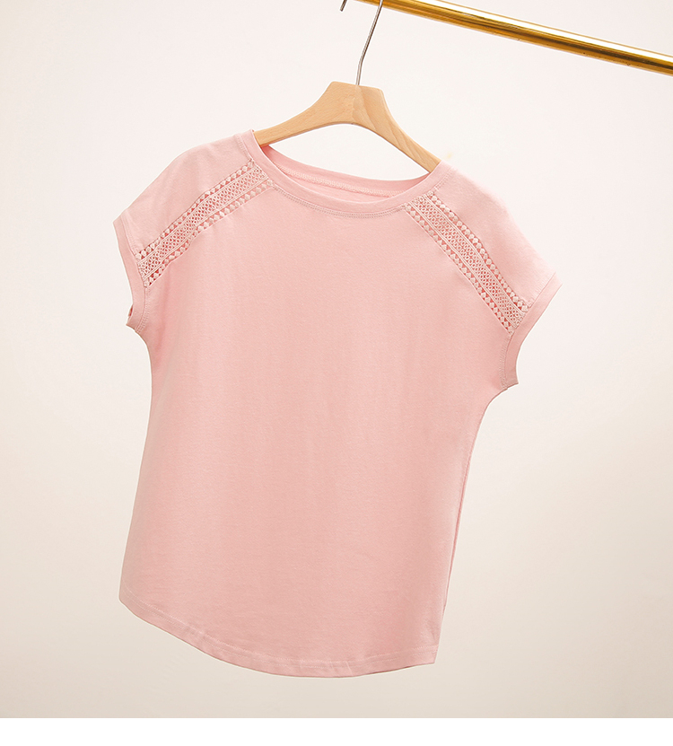 Hce9245b903664d079b13b47a2d8b672eW - Cotton Summer Blouses Lace Batwing Sleeve Shirts For Womens Tops Shirts Plus Size Women Clothing Korean Pink Blusas Female