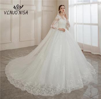 Vestido De Noiva 2020 V-Neck Bridal Ball Gowns Long Sleeve Wedding Dresses Lace Appliques Brides Big Train Plus Size 2-26w - discount item  38% OFF Wedding Dresses
