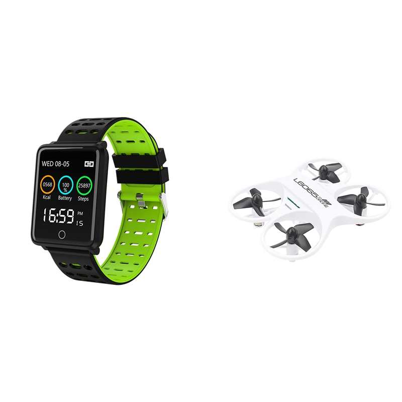 1Pcs F3 1.44Inch Waterproof Health Smart Watch Green & 1Pcs Mini Remote Control Quadcopter Toy 2.4Ghz Aircraft With Led Lights W