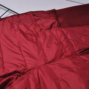Image 5 - BerylBella Winter Women Pants  Casual High Waist Zipper Slim Double Faced Duck Down Warm Black Bule Pencil Pants Trousers