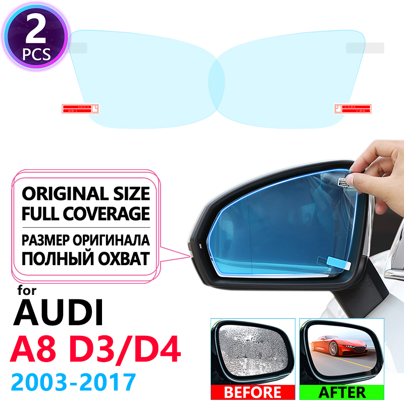 Full Cover Anti Fog Film Rainproof Rearview Mirror for <font><b>Audi</b></font> <font><b>A8</b></font> D3 D4 2003~2017 4E <font><b>4H</b></font> Anti-fog Protective Film Accessories S8 A8L image