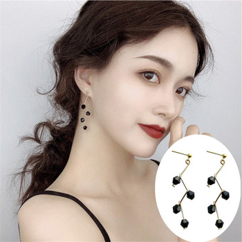 Korean Fashion Elegant black Crystal Waterdrop long Earrings gold Stud Earrings For Women Piercing Jewelry image