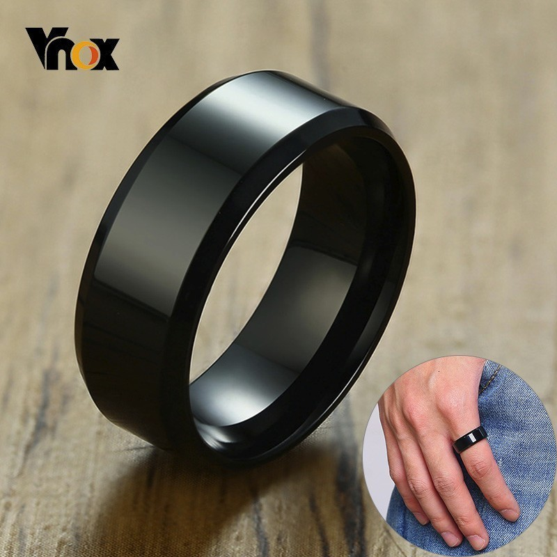 Vnox 8 millimetri Classic Anello Nero per Gli Uomini Le Donne Superficie Lucida In Acciaio Inox Wedding Band Casual Anel