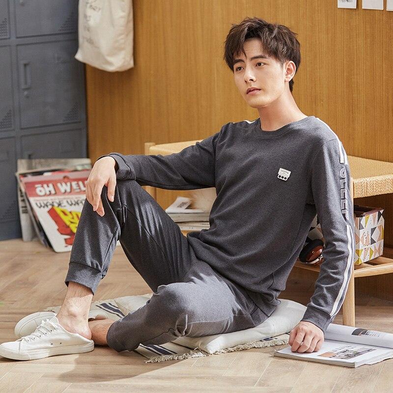 Winter Men Pajamas Set 100% Cotton  Pyjamas Long-sleeve 2019 Autumn Casual Men Sleepwear Suit Homewear Plus Size L-XXXL