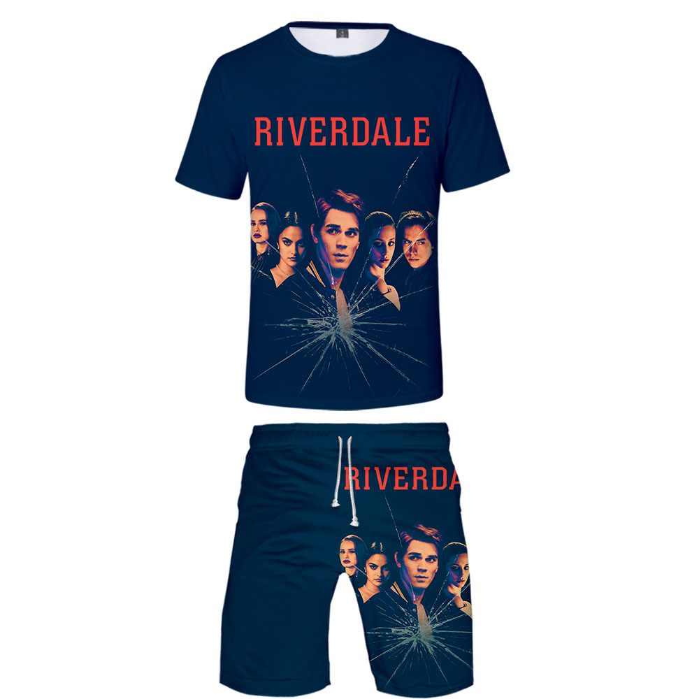Riverdale 3D Print Casual Personality Man Kpop High Street Fashion Cool Basic 2 Pic Set Summer T-shirt+Short Pants Sets Sports