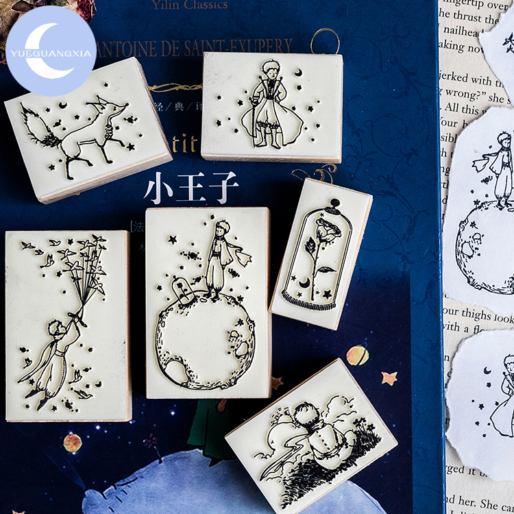 YUEGUANGXIA Fairy Tale Little Prince Birds Rose Fox Wooden Rubber Stamp Creative Bullet Journal Supplies Wooden Stamps 6 Designs