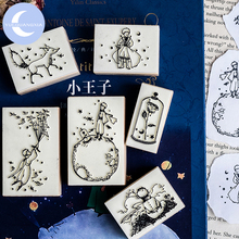 YUEGUANGXIA Fairy Tale Little Prince Birds Rose Fox Wooden Rubber Stamp Creative Bullet Journal Supplies Stamps 6 Designs