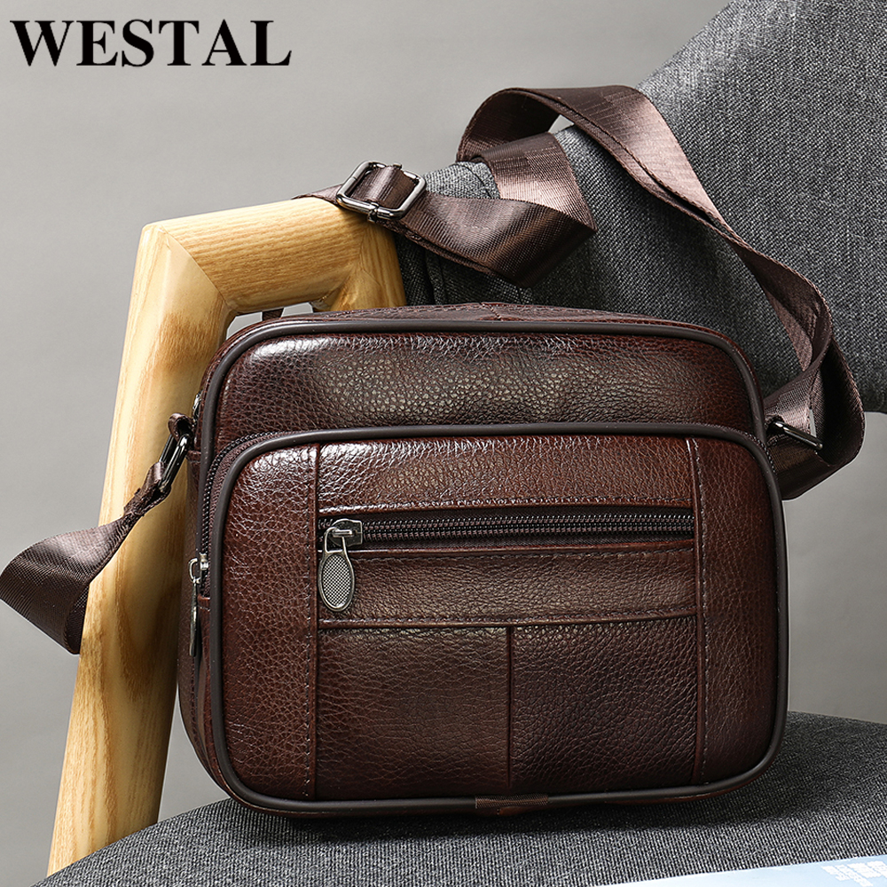 WESTAL Men's Bags Genuine Leather Casual Men's Shoulder Bag For Men Flap Zipper Men's Crossbody Bag Leather Messenger Handbags